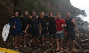 The boys at the rocks before paddling out